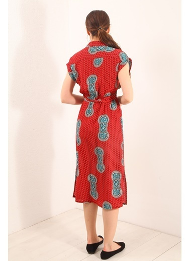 Reyon Desenli Çift Cep Krep Elbise Siyah Kırmızı